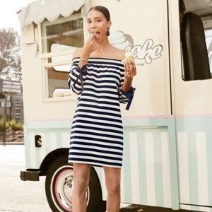 J. Crew striped off the shoulder dress tie sleeves